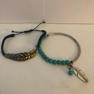 Set of 2 Feather Turquoise Blue Bracelets